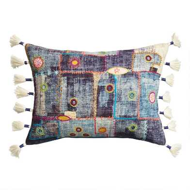 Denim Patchwork Embroidered Lumbar Pillow