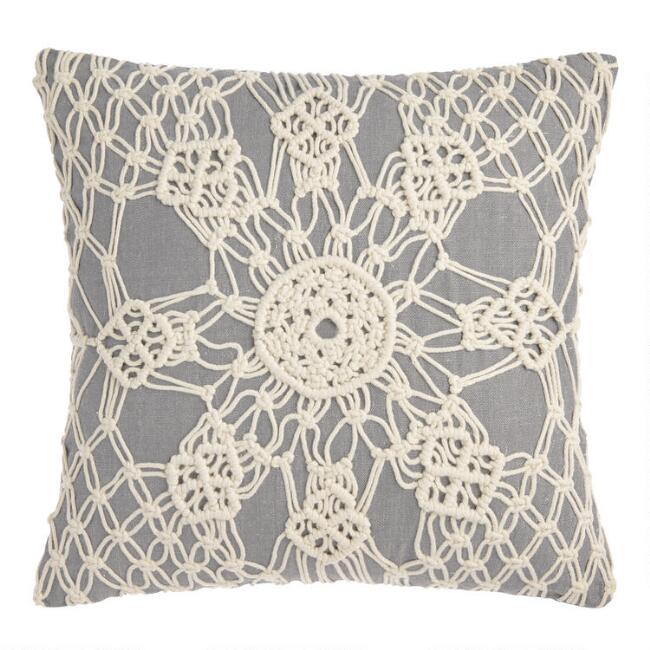 Chambray and Macrame Indoor Outdoor Throw Pillow
