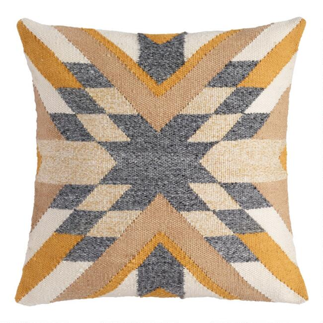 Block Stitched Southwest Indoor Outdoor Throw Pillow