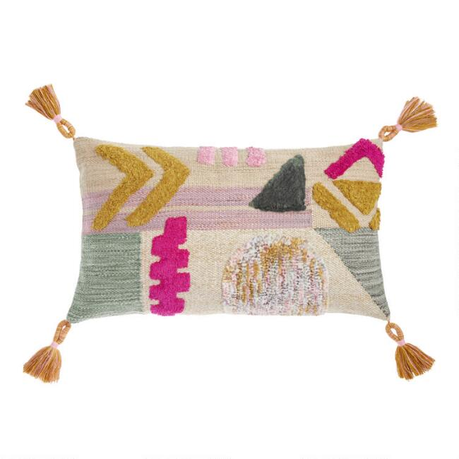 Geometric Wool Shag Lumbar Pillow by World Market