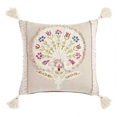 Natural Cotton Embroidered Floral Dahlia Throw Pillow