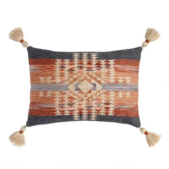 Gray and Rust Kilim Nova Indoor Outdoor Lumbar Pillow