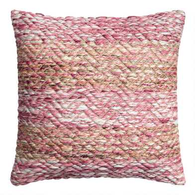 Warm Chunky Yarn Embroidered Throw Pillow