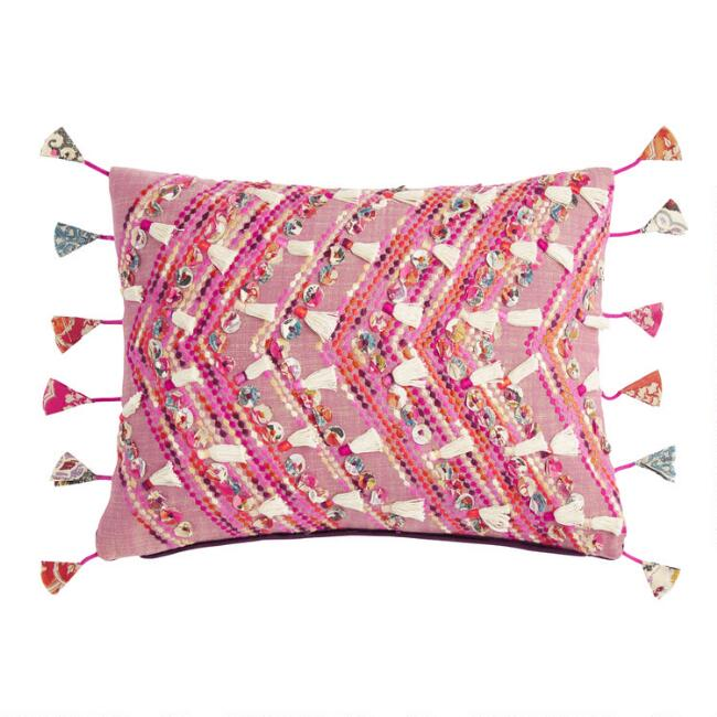 Rose Pink Embroidered Deja Lumbar Pillow with String Tassels