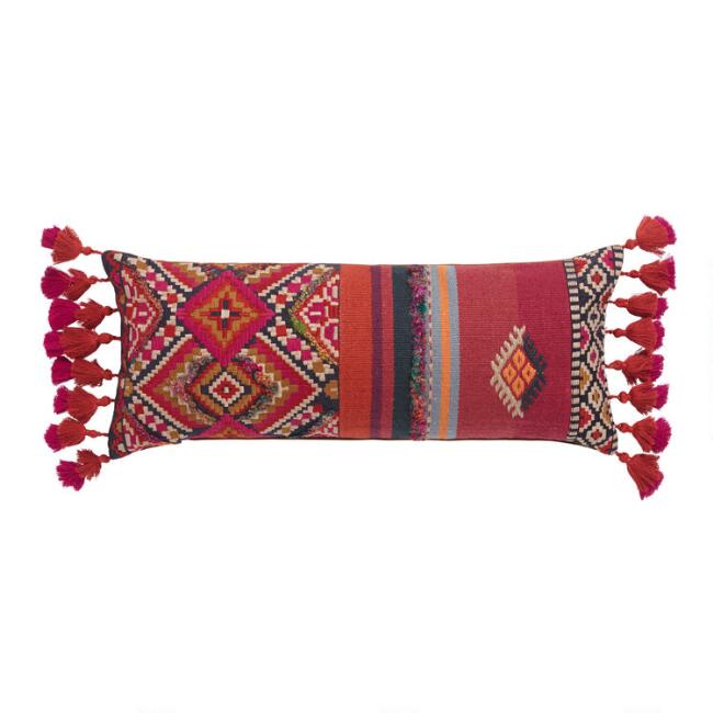 Oversized Red Southwest Harper Lumbar Pillow with Tassels