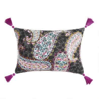Paisley Embroidered Ravi Lumbar Pillow