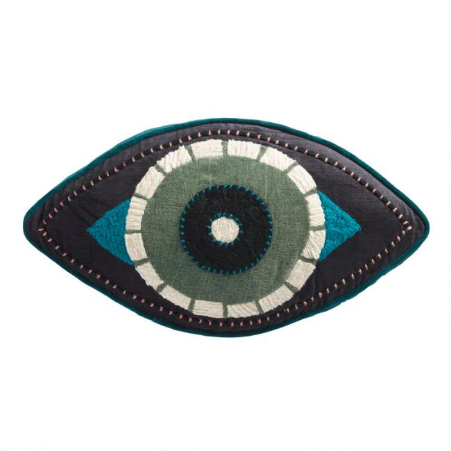 Teal and Black Evil Eye Gusseted Throw Pillow