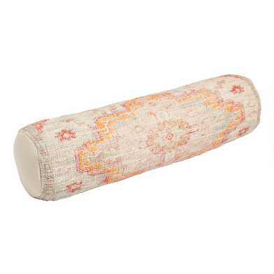 Multicolored Vintage Rug Print Bolster Pillow