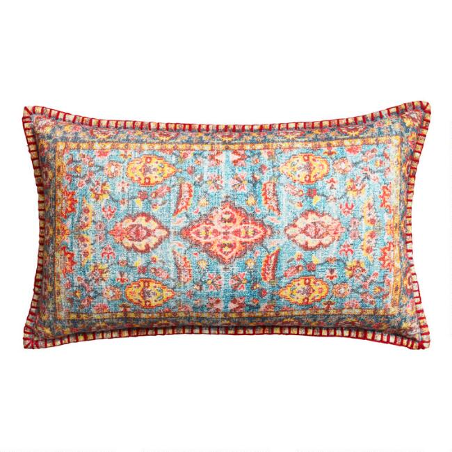 Blue Multicolor Rug Print Lumbar Pillow