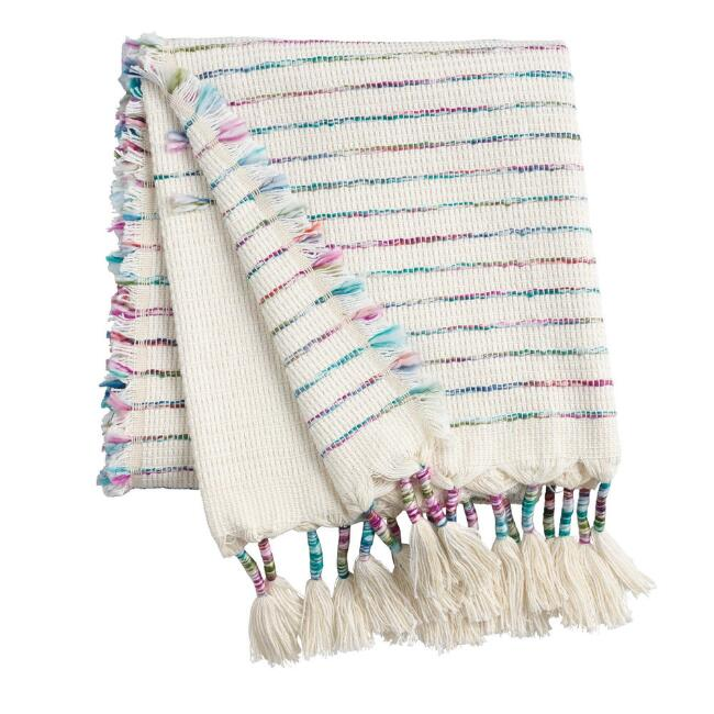 Ivory Diamond Cotton Throw Blanket