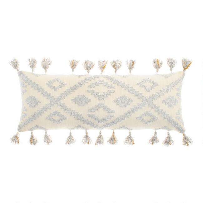Oversized Cream and Gray Diamond Lumbar Pillow