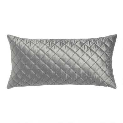 Charcoal Quilted Velvet Lumbar Pillow