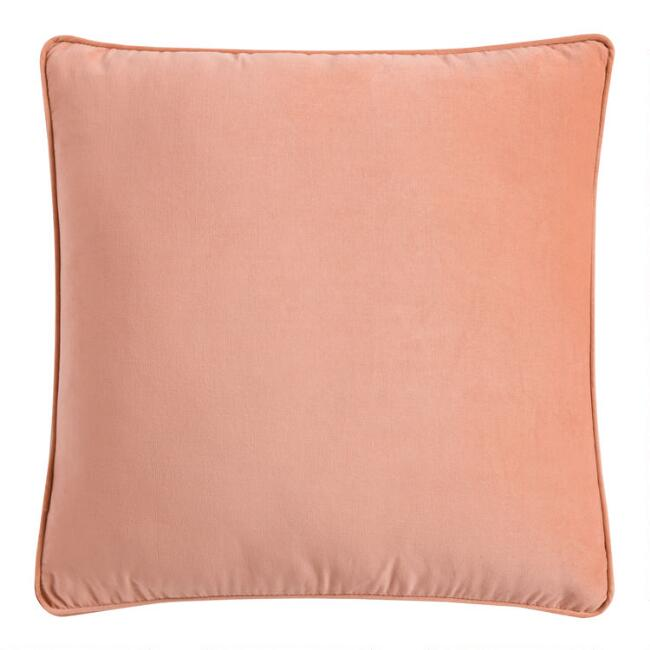 Salmon Pink Velvet Gusseted Throw Pillow
