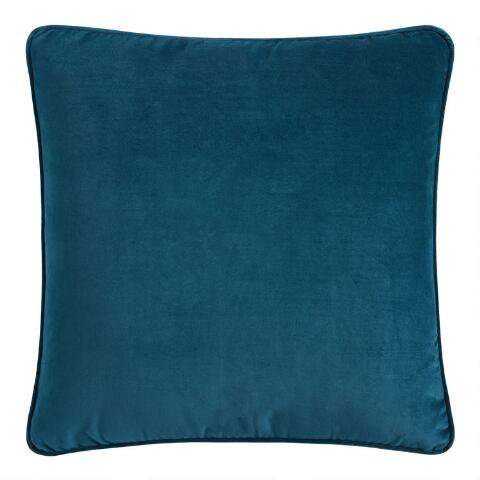 Awe Inspiring Peacock Blue Velvet Gusseted Throw Pillow Theyellowbook Wood Chair Design Ideas Theyellowbookinfo