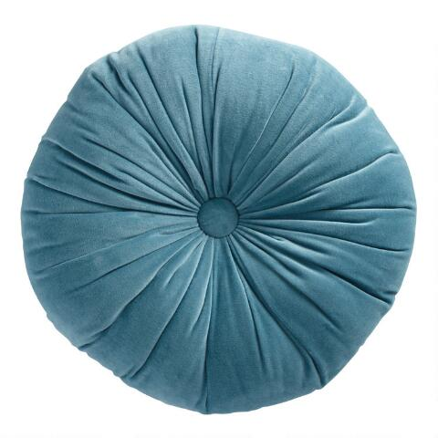Superb Round Storm Blue Velvet Throw Pillow Gamerscity Chair Design For Home Gamerscityorg