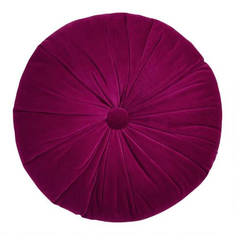 Amazing Round Red Raspberry Velvet Throw Pillow Gamerscity Chair Design For Home Gamerscityorg
