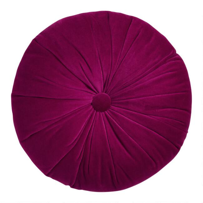 Round Red Raspberry Velvet Throw Pillow