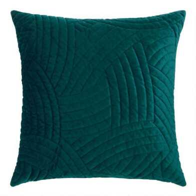 Quilted Wave Velvet Throw Pillow