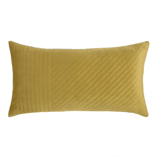 Chartreuse and Navy Quilted Velvet Reversible Lumbar Pillow