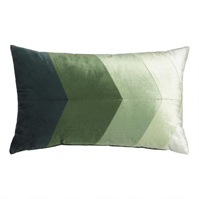 Green Chevron Velvet Lumbar Pillow by World Market