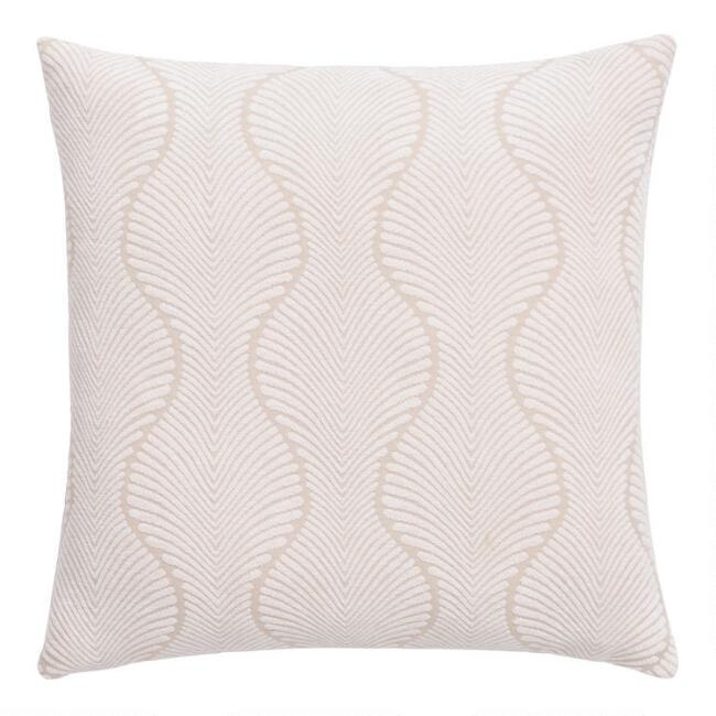 Ivory Ogee Jacquard Throw Pillow