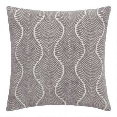 Gray Ogee Jacquard Throw Pillow
