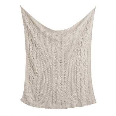Champagne Chunky Cable Knit Throw Blanket