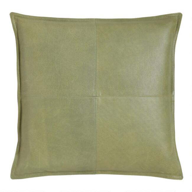Green Leather Kona Throw Pillow