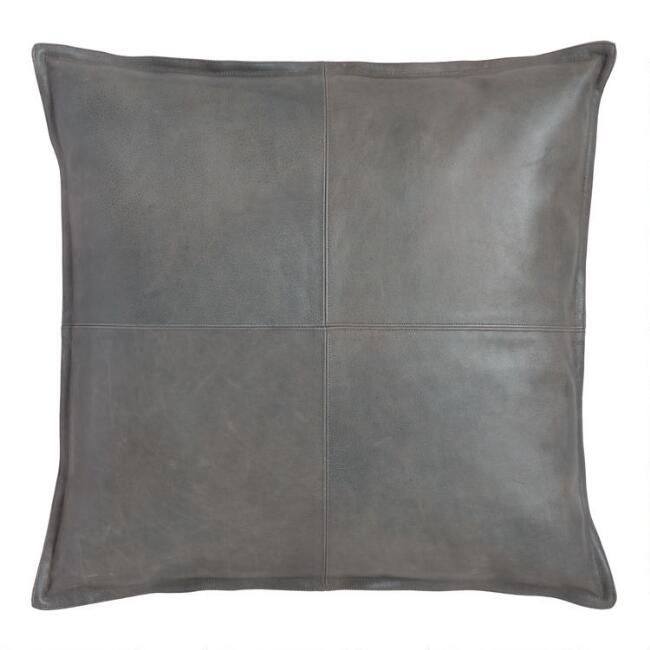 Gray Leather Kona Throw Pillow