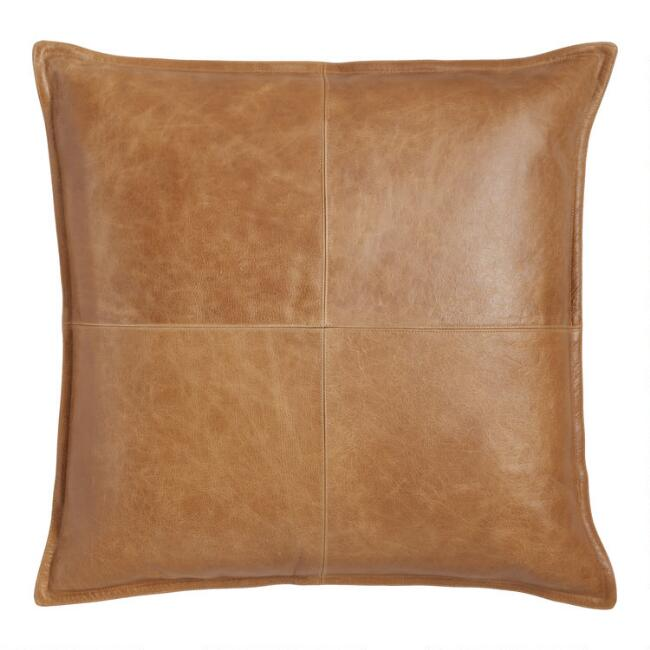 Tan Leather Kona Throw Pillow