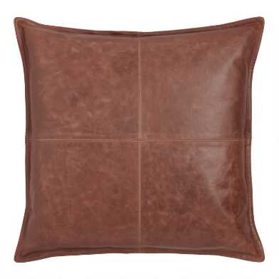 Brown Leather Kona Throw Pillow