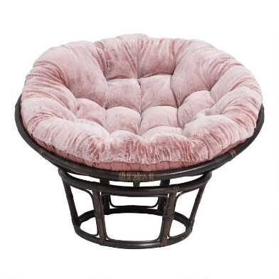 Dusty Rose Faux Fur Papasan Chair Cushion