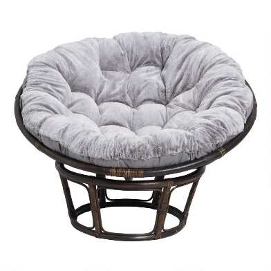 Gray Faux Fur Papasan Chair Cushion