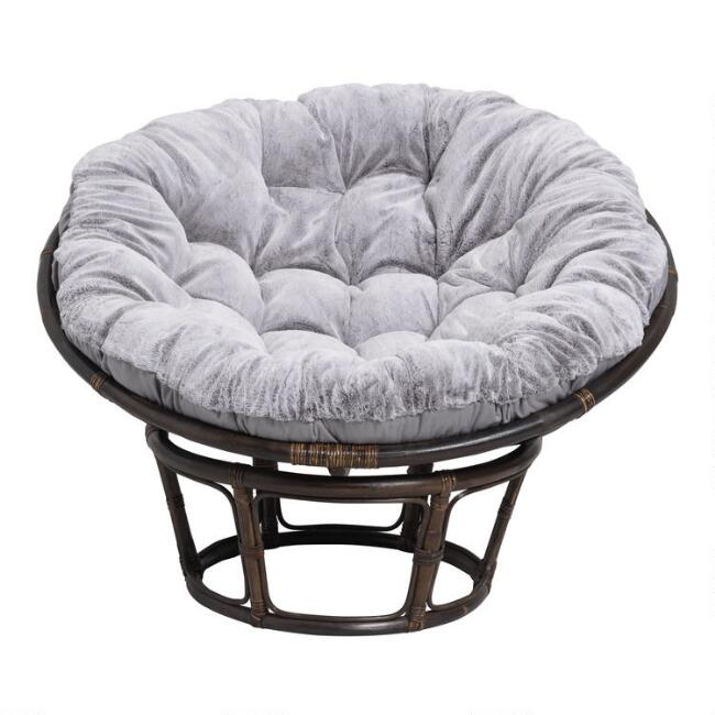 Gray Faux Fur Papasan Chair Cushion World Market