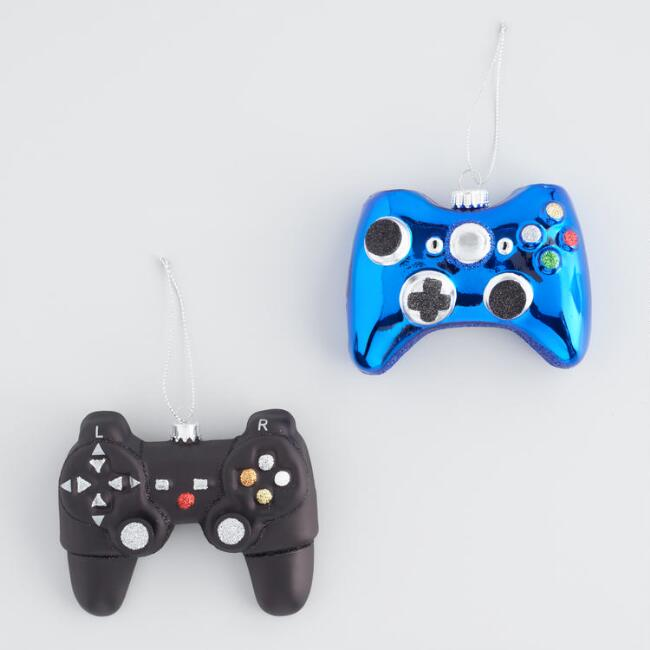 Glass Game Controller Ornaments Set Of 2