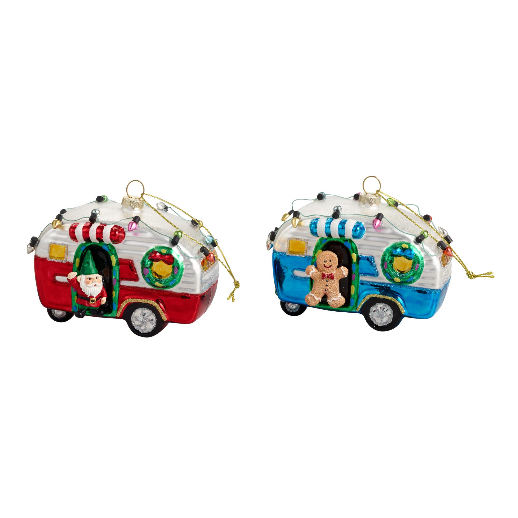 Glass Retro Trailer Ornaments Set of 2 by World Market