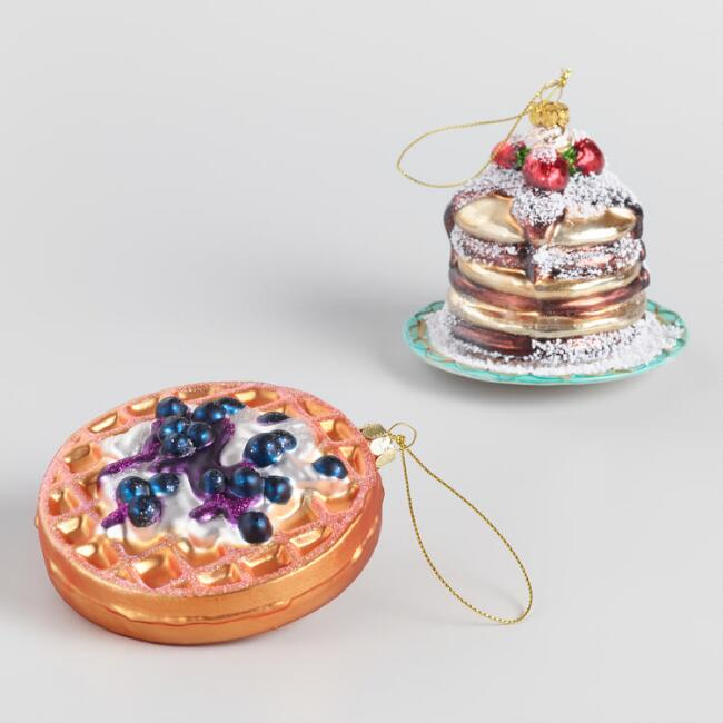 Glass Pancakes and Waffle Ornaments Set Of 2