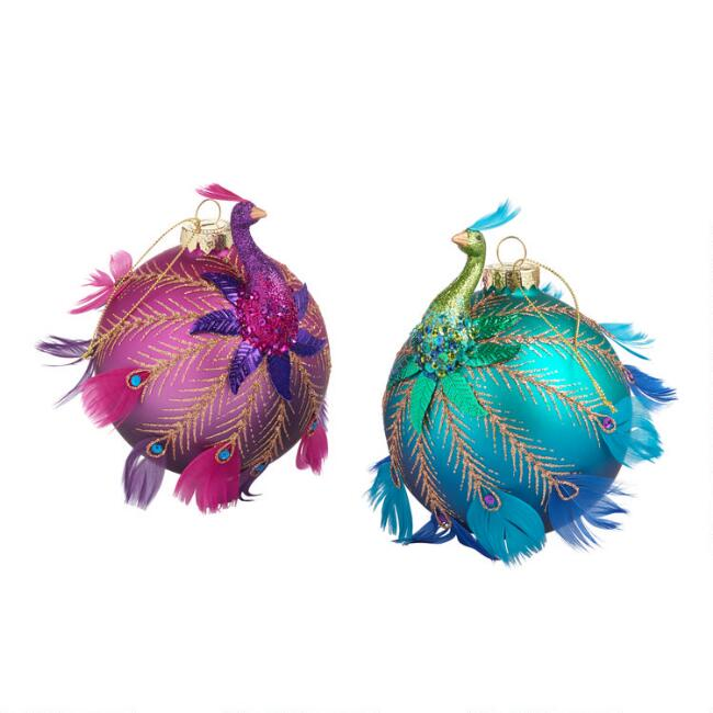 Glass and Feather Peacock Ball Ornaments Set Of 2