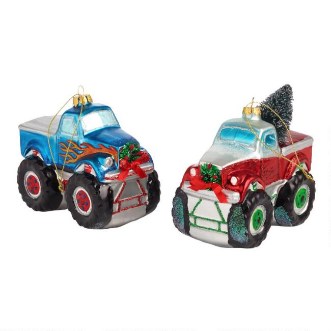 Glass Monster Truck Ornaments Set Of 2