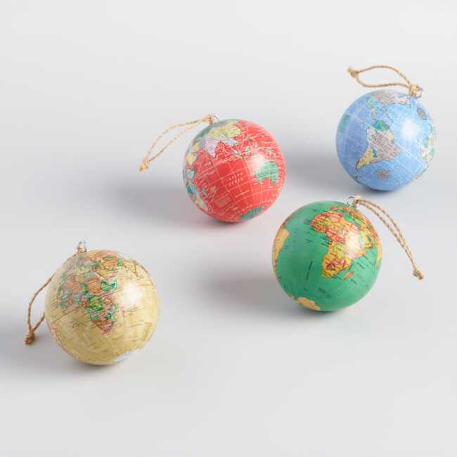 Christmas Holiday Images.Paper Wrapped Globe Ornaments Set Of 4