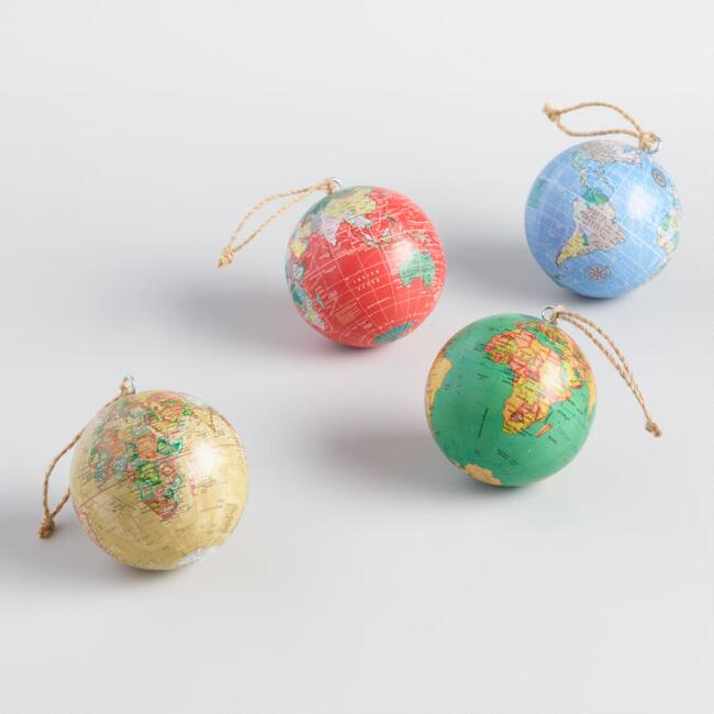 Paper Wrapped Globe Ornaments Set of 4