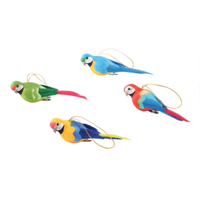 Feathered Parrot Ornaments Set of 4
