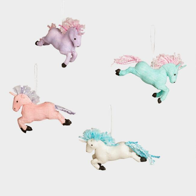 Pastel Paper Unicorn Ornaments Set of 4