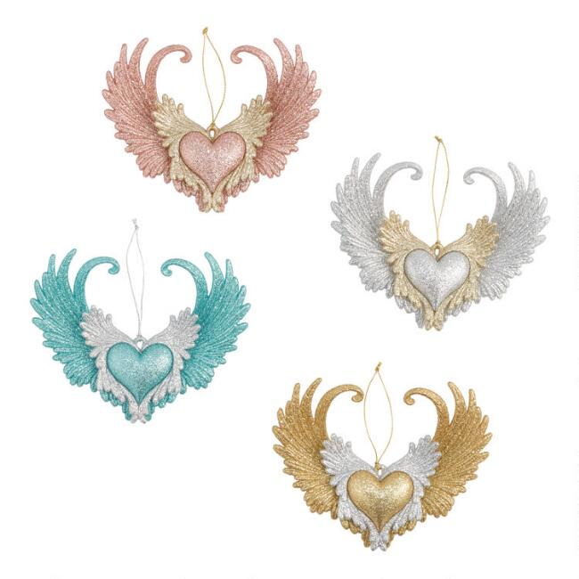 Winged Heart Ornaments Set of 4