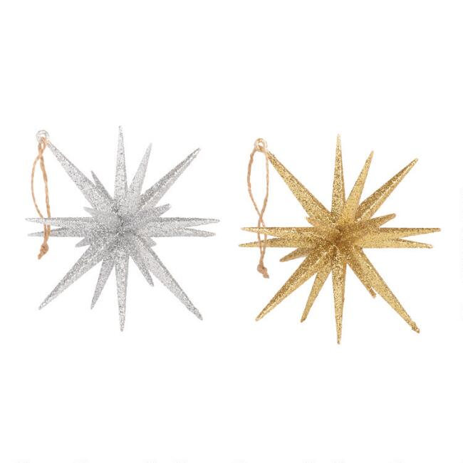Silver and Gold Glitter 18 Point Star Ornaments Set of 2