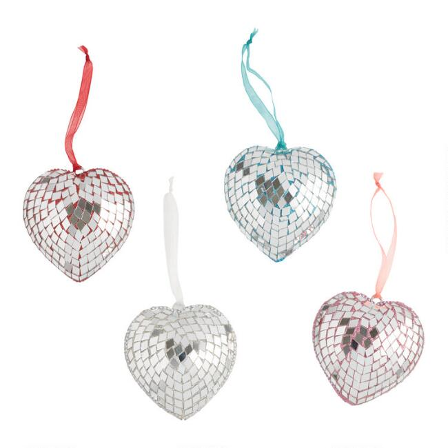 Mirrored Heart Ornaments Set of 4