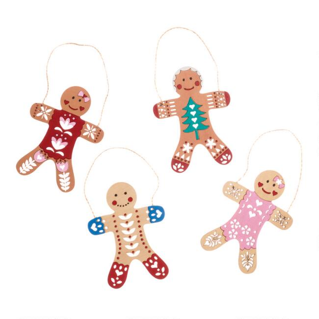 Wood Gingerbread People Ornaments Set of 4