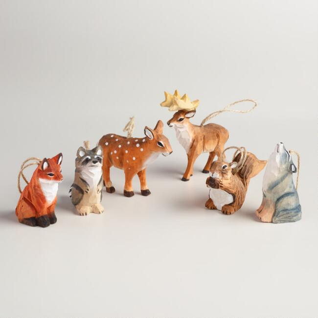 Carved Wood Woodland Animal Ornaments Set of 6