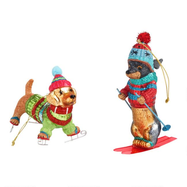 Glass Skiing and Skating Dachshund Ornaments Set of 2