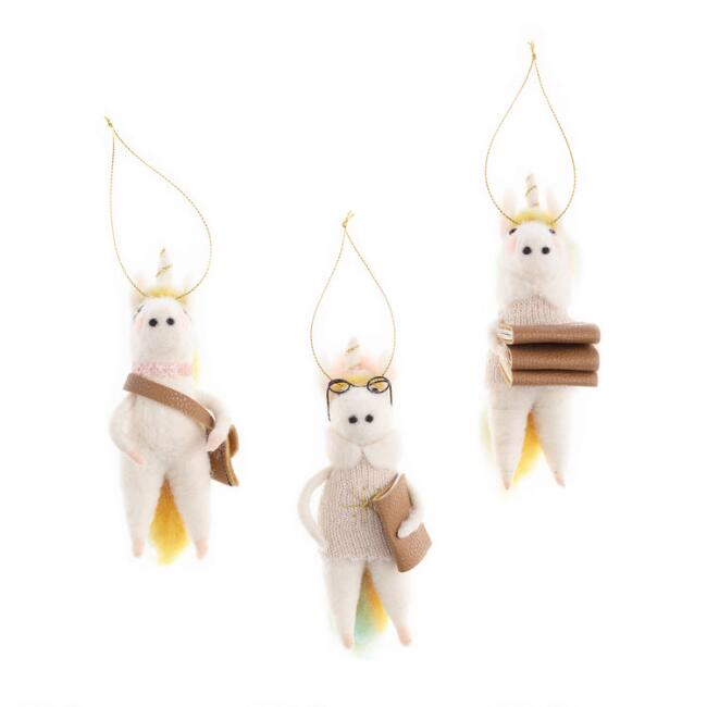 Felted Wool Unicorn with Books Ornaments Set of 3